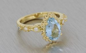 Aquamarine Pear Flower Engagement Ring