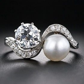 Natural pearl and diamond Edwardian twin ring