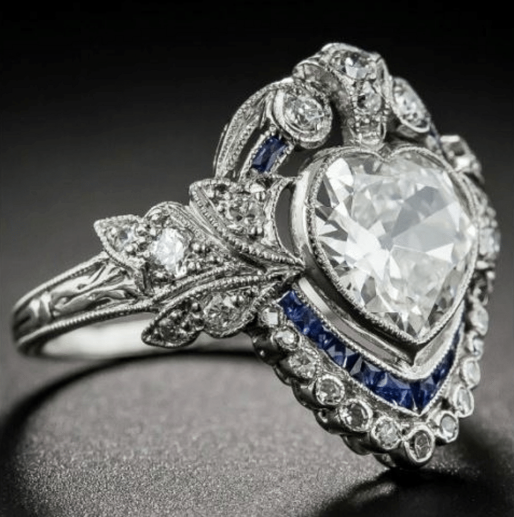Edwardian Heart shaped diamond and sapphire engagement ring