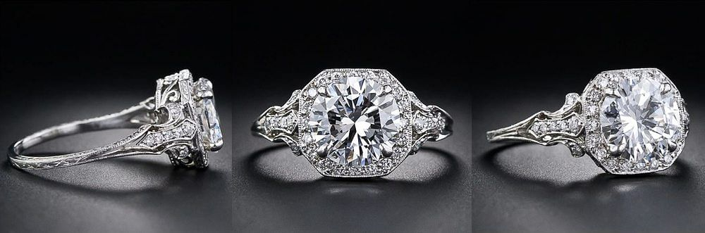 Diamond Edwardian style engagement ring