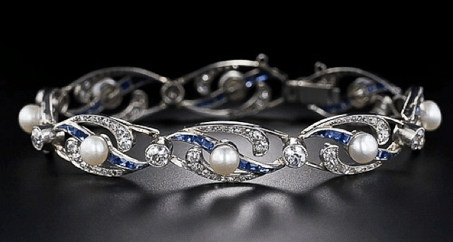 French Edwardian pearl, diamond, sapphire and platinum bracelet