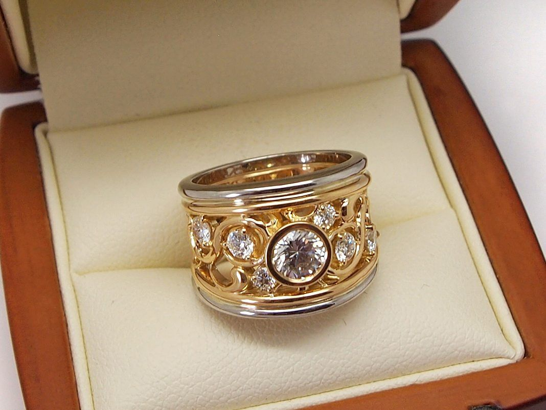 Fabergé style filigree dress ring