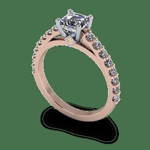 14kt rose gold ascher cut diamond ring