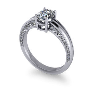 Diamond encrused oval engagement ring