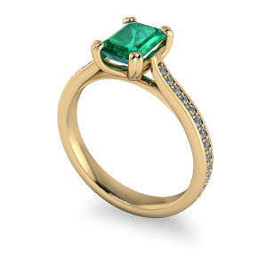 Emerald and diamond vintage style ring
