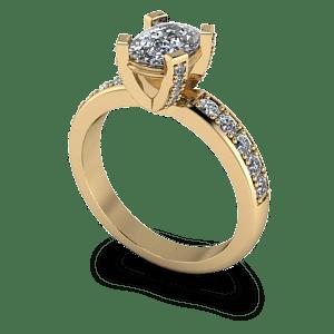 Cushion cut diamond ring with decorative claws