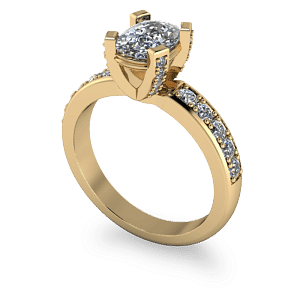 Cushion cut diamond ring with decorative claws