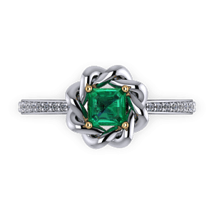 Entwined halo emerald ring