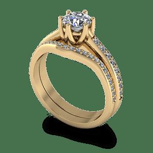 Diamond set shaped wedding band
