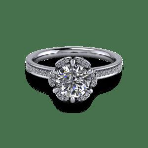 Elegant six claw flower ring