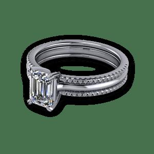 Multistrand emerald engagement ring
