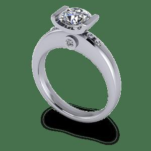 Chunky bar set engagement ring