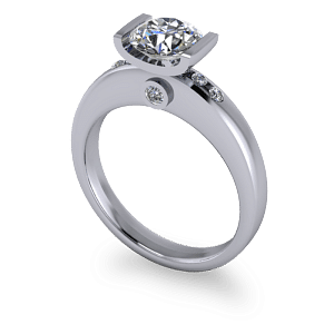 Chunky bar set engagement ring