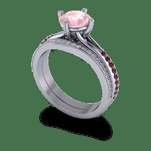 Millgrain and diamond shaped wedding band