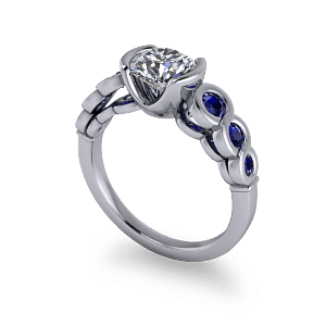 Contemporary sapphire and diamond ring