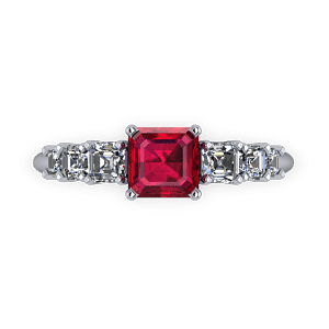 Stepped ascher cut ruby ring