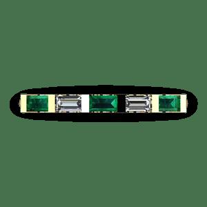 Bar set diamond and emerald ring