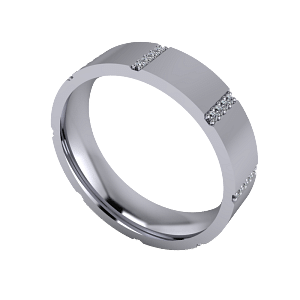 Flat band with micro set diamonds