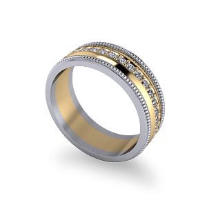 Mixed metal diamond band