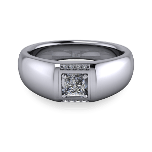 Chunky mens diamond signet ring