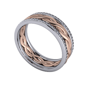 Mixed metal woven band