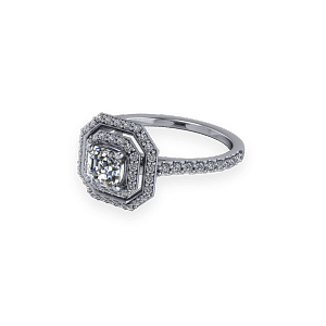 Asscher Cut Double Halo Diamond Ring