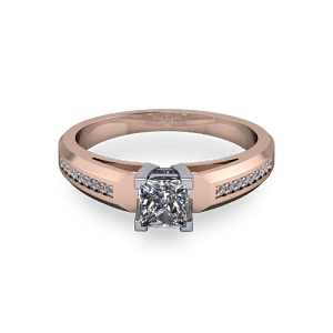 Chunky 14kt rose gold princess cut