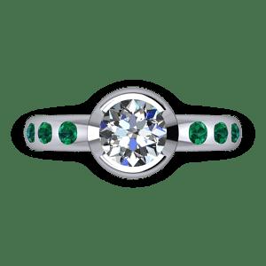 Part bezel set diamond and emerad ring