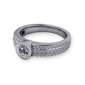 Pave bezel set single stone