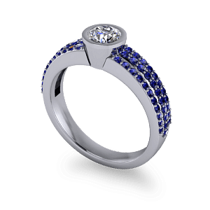 Sapphire pave band with round diamond