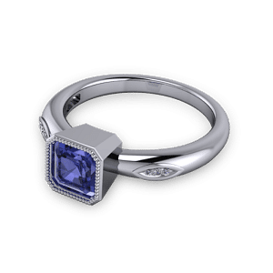 Tanzanite Ascher cut engagement ring