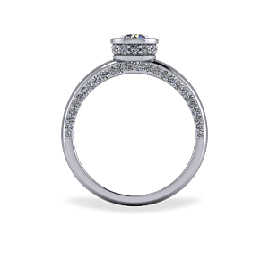 Encrusted bezel set engagement ring