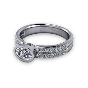 Bezel set oval with diamond shoulders