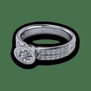 Bezel set oval with diamond shoulders