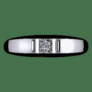 Minial bar set princess cut engagement ring
