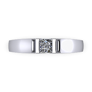 Minial bar set princess cut engagement ring