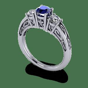 Sapphire filigree 3 stone ring
