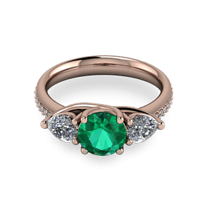 Rose gold emerald and pear stone ring