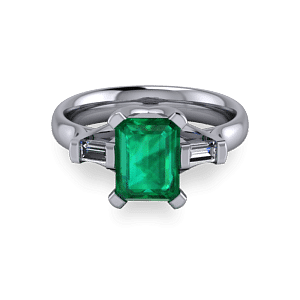 Radiant emerald platinum modern ring