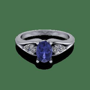 Oval tanzanite trilogy ring