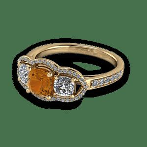 Cognac diamond unique halo engagement ring