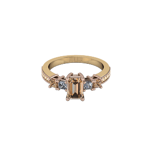 Mixed metal champage diamond radiant trilogy engagement ring