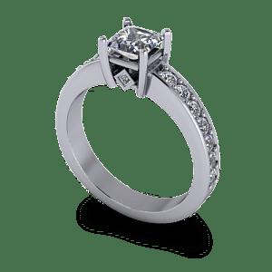 Contemporary princess cut diamond ring