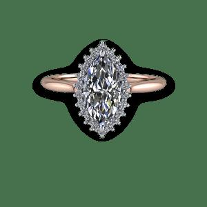 Marquise diamond vintage halo rose gold engagement ring