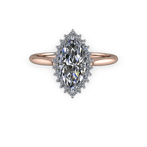 Marquise diamond vintage halo rose gold engagement ring