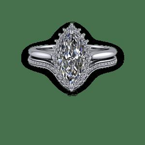 Vintage Marquise diamond halo engagement ring set