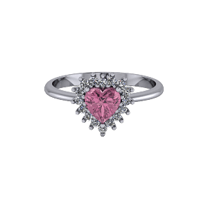 Pink heart halo style tapered vintage engagement ring