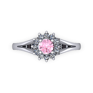 Baby pink diamond halo split shank engagement ring