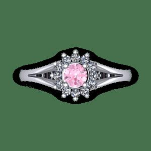 Baby pink diamond halo split shank engagement ring