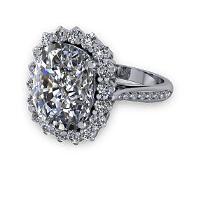 Large cushion diamond halo traditional engagement ring